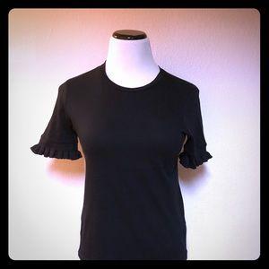 Zara Trafaluc Black Short Pleated Sleeve Size M